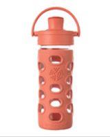 ¡NUEVA! Botella de vidrio con tapa active y funda de silicona (durazno - 350 ml.)