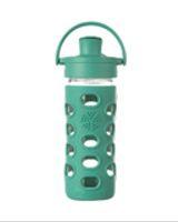¡NUEVA! Botella de vidrio con tapa active y funda de silicona (verde mar - 350 ml.)