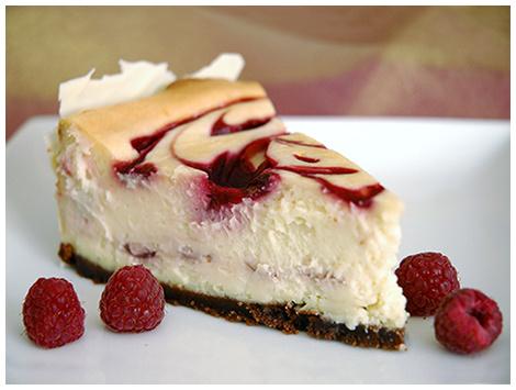 Cheesecake Chocolate Blanco Salsa Frambuesa