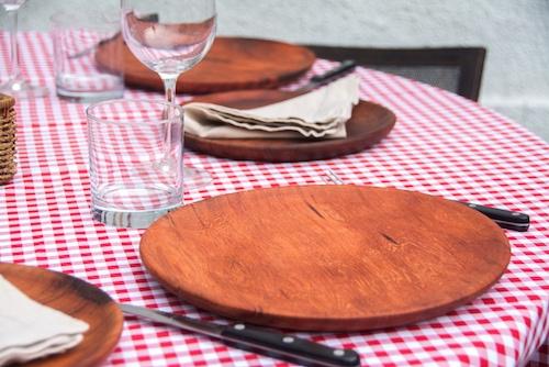 Set de 4 platos de madera de alerce grandes