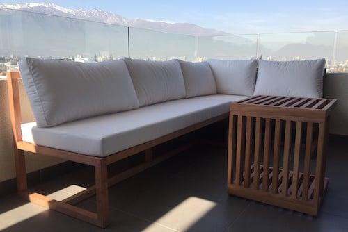 Juego de terraza en L de madera de roble