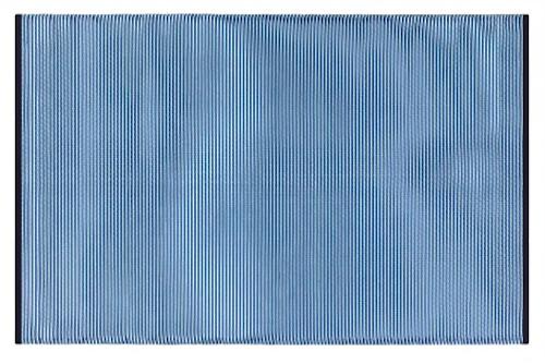 Alfombra PET a rayas azul con blanco de 150 x 240 cm