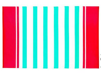 Alfombra PET rayada turquesa y rojo de 180 x 270 cm