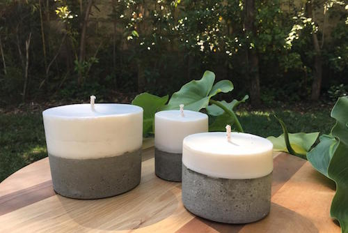 Pack de 3 velas de hormigón