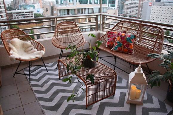 Muebles de mimbre para terraza de 300 por 300