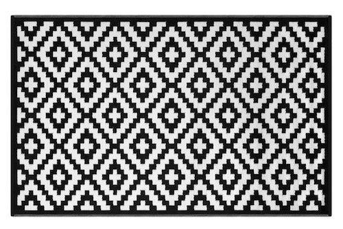 Alfombra PET modelo Nirvana negro con blanco 90 x 150