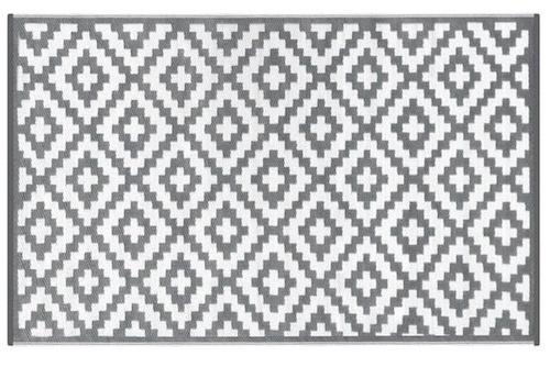 Alfombra pasillo PET modelo con rombos grises con blanco de 70 x 180