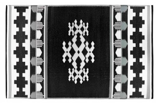 Alfombra PET Rover Negra con blanco 150 x 240 cm.