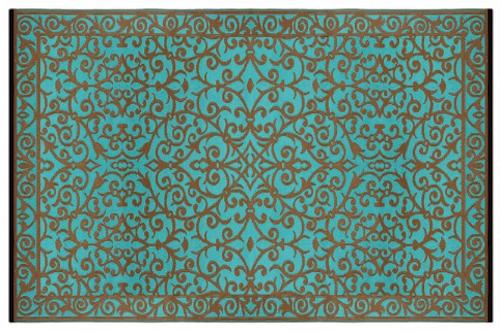 Alfombra PET modelo gala turquesa con dorado 180 x 270 cm