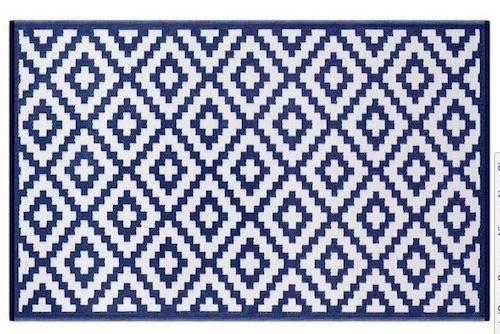 Alfombra PET Nirvana azul con blanco 180 x 270 cm