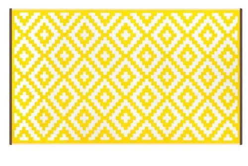 Alfombra PET Nirvana amarilla con blanco 150 x 240 cm.