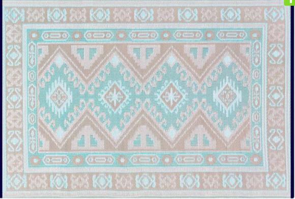 Alfombra PET Kazak celeste con beige de 180 x 270 cm.