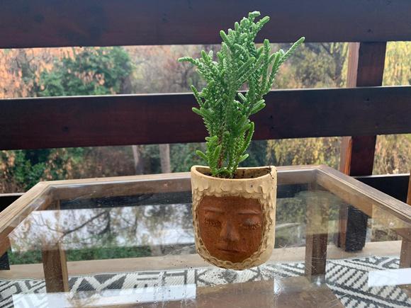 Macetero de cerámica de gres colgante pequeño