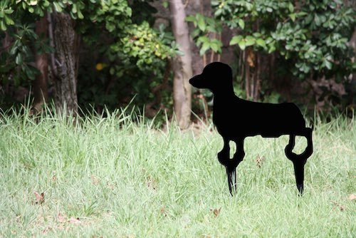 Escultura de fierro de perro salchicha - escultura de fierro jardin perro salchicha.jpg