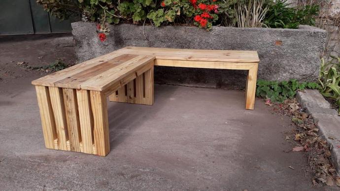 Banca de madera de pallets reciclados a medida - bancas natural1.jpeg