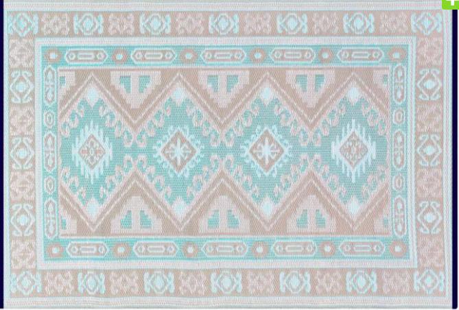 Alfombra PET Kazak celeste con beige de 180 x 270 cm. - Alfombra de exterior pet modelo Kazak.jpg