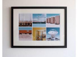 Marco + Paspartú + Collage 30x45 Lacado Negro