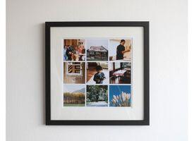 Marco + Paspartú + Collage 30x30 Lacado Negro