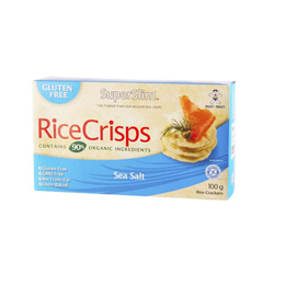 Rice Crisps, Galleta de Arroz Integral Sin Gluten, Sabor Sal de Mar - 100 grs