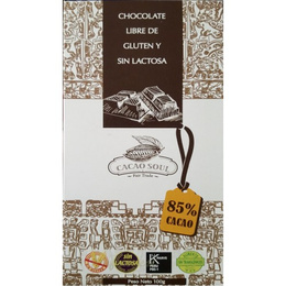 Chocolate 85% cacao orgánico-Sin gluten 100 grs-CACAO SOUL