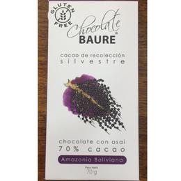 Chocolate en barra 70% Cacao con Asai 70 grs