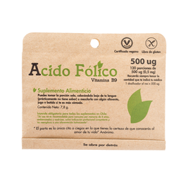 Acido Fólico vitamina B9 120 porciones de 500 ug