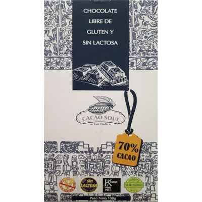 CHOCOLATE 70% CACAO SIN GLUTEN -100 GRS- CACAO SOUL