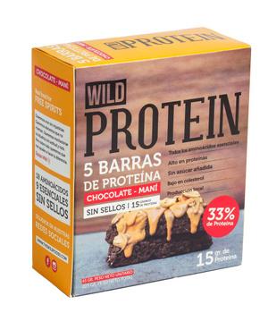 Barras de Proteina Chocolate y Mani. Caja de 5 un. de 45 gr. c/u