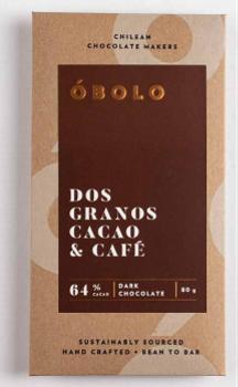 Barra Chocolate Dos Granos Cacao y Café 64% Cacao 80 grs