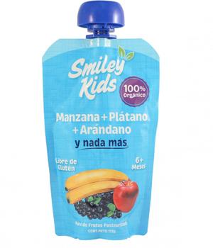 Compota de Manzana, Plátano y Arándano. 113 gr.