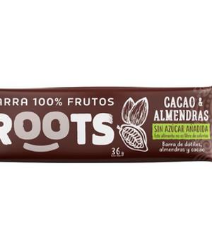 Barra 100% frutos - Cacao y Almendras. 36gr.