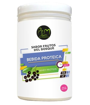 Bebida Proteica de Suero Sabor Frutos del bosque 600 grs.