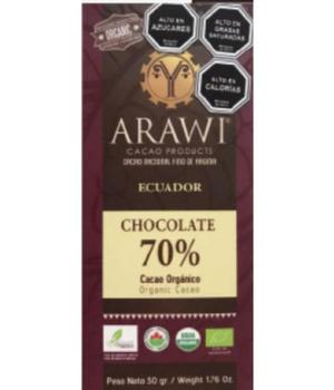 Barra Chocolate Nibs 70% Cacao Orgánico 50 gr