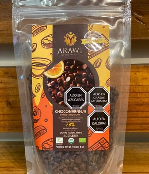 Chips de Chocolate Orgánico 70% Cacao con Naranja 227 gr