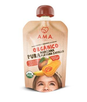 Puré organico de frutas Manzana Plátano Zapallo Orgánico. 90 gr.