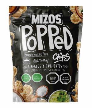 Popped Chips con Sal de mar. 105 gr. Libre de Gluten, Vegano y Sin Azucar añadida
