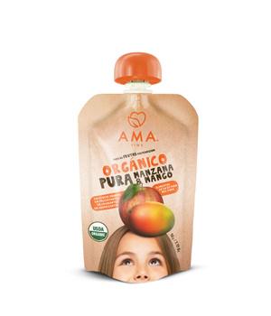 Puré organico de frutas Manzana Mango. 90 gr.