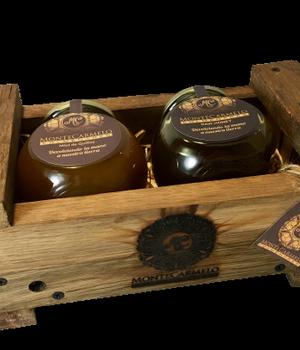 Miel Multifloral y Miel de Quillay pack Madera 500 gr.