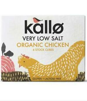 Caldo en cubitos de pollo bajo en sal