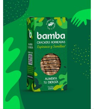 Crackers de Espinaca y Semillas 150 grs. Bamba