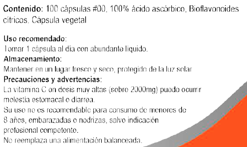 Vitamina C 100% Pura de 1000 mg 100 capsulas