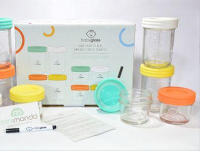 Set 4 contenedores Babyglass 120 ml + 4 contenedores 240 ml + lápiz marcador