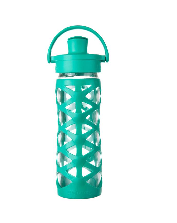 Botella de vidrio 475 ml. con tapa active y funda de silicona