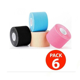 Pack 6 Cinta Kinesiologica Vendaje 5cm X 5 Mt.