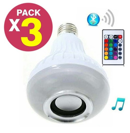 Pack 3 Ampolleta Bluetooth Parlante