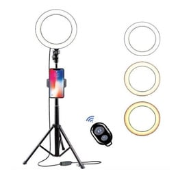 Kit Aro De Luz Led Tricolor 20cms + Trípode Regulable 1.3 Mt