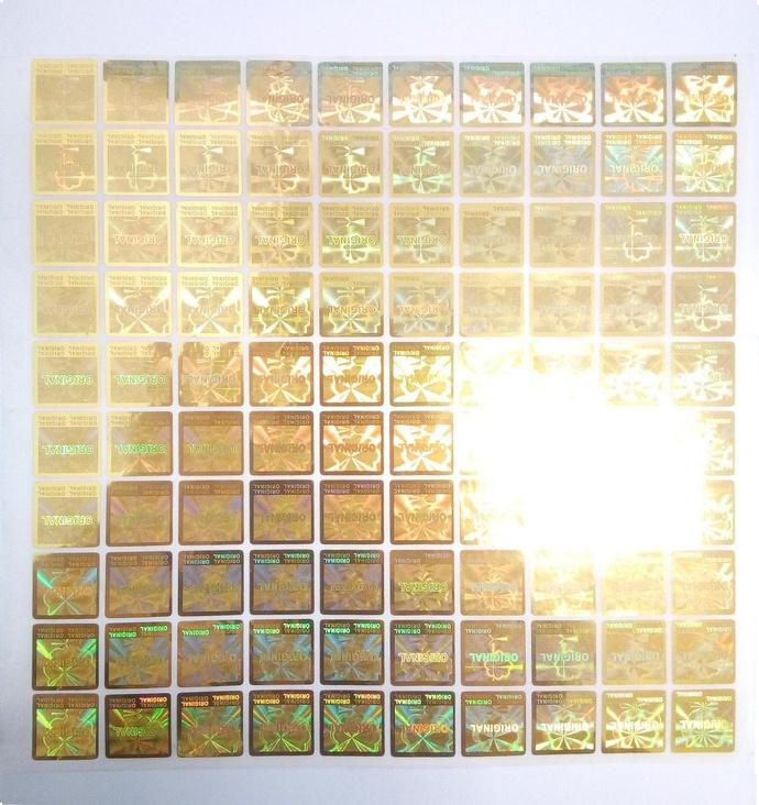 Pack 200 Sellos Holograficos Original dorado