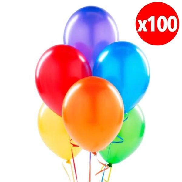Pack 100 Globos Perlados Colores Surtidos
