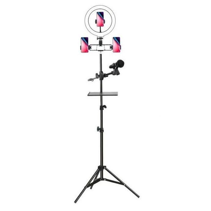 Aro Luz Led + 3 Base + Trípode 2 Mts + Base Microfono Tik Tok