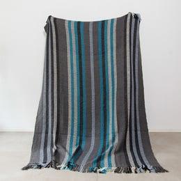 Frazada Aymara franjas grises y azul
